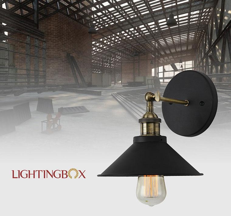The Living Room W1: Vintage Industrial Lighting Black Painting 1 Light Wall
