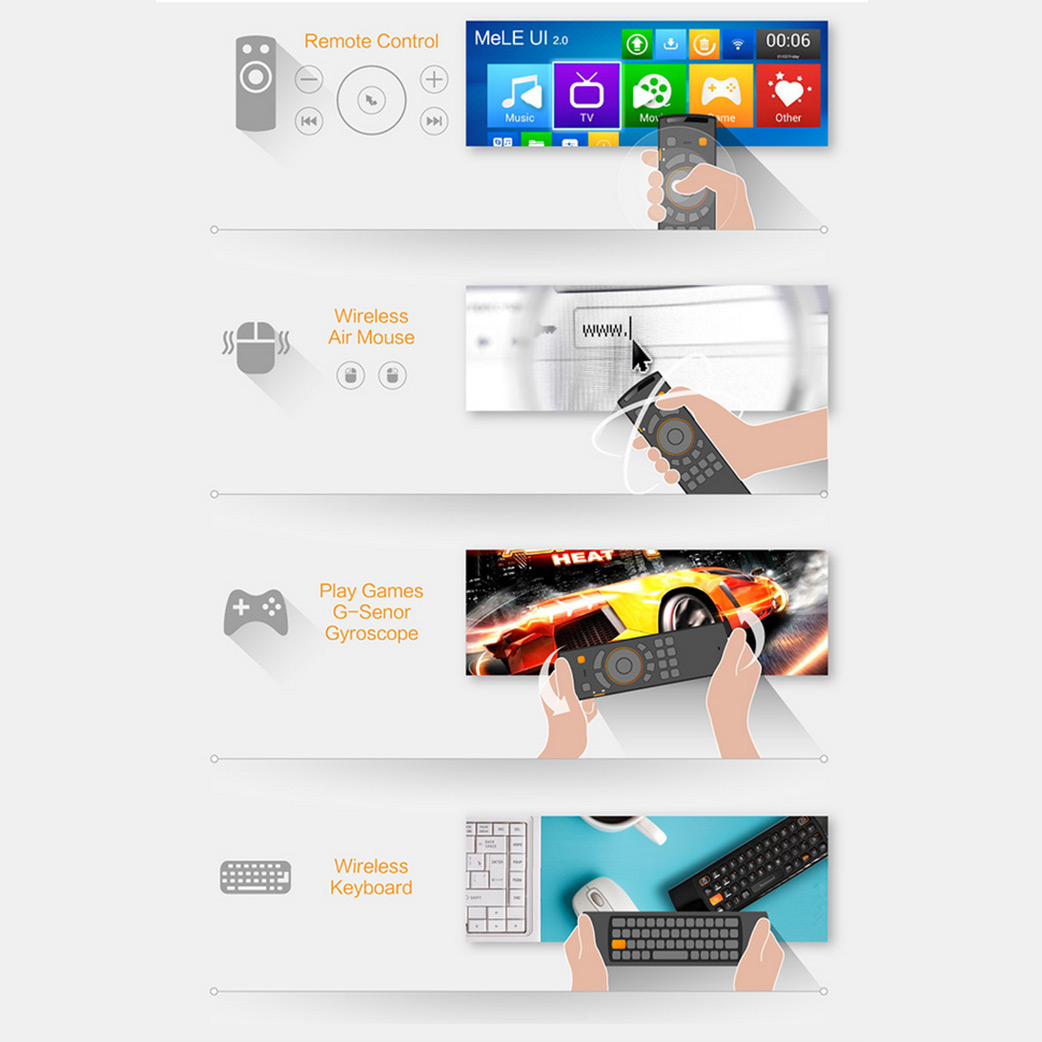 Fly Air Mouse Wireless Keyboard Remote Control MeLE F10 Deluxe 2 4GHz 6  Axial Gyro Game IR Learning