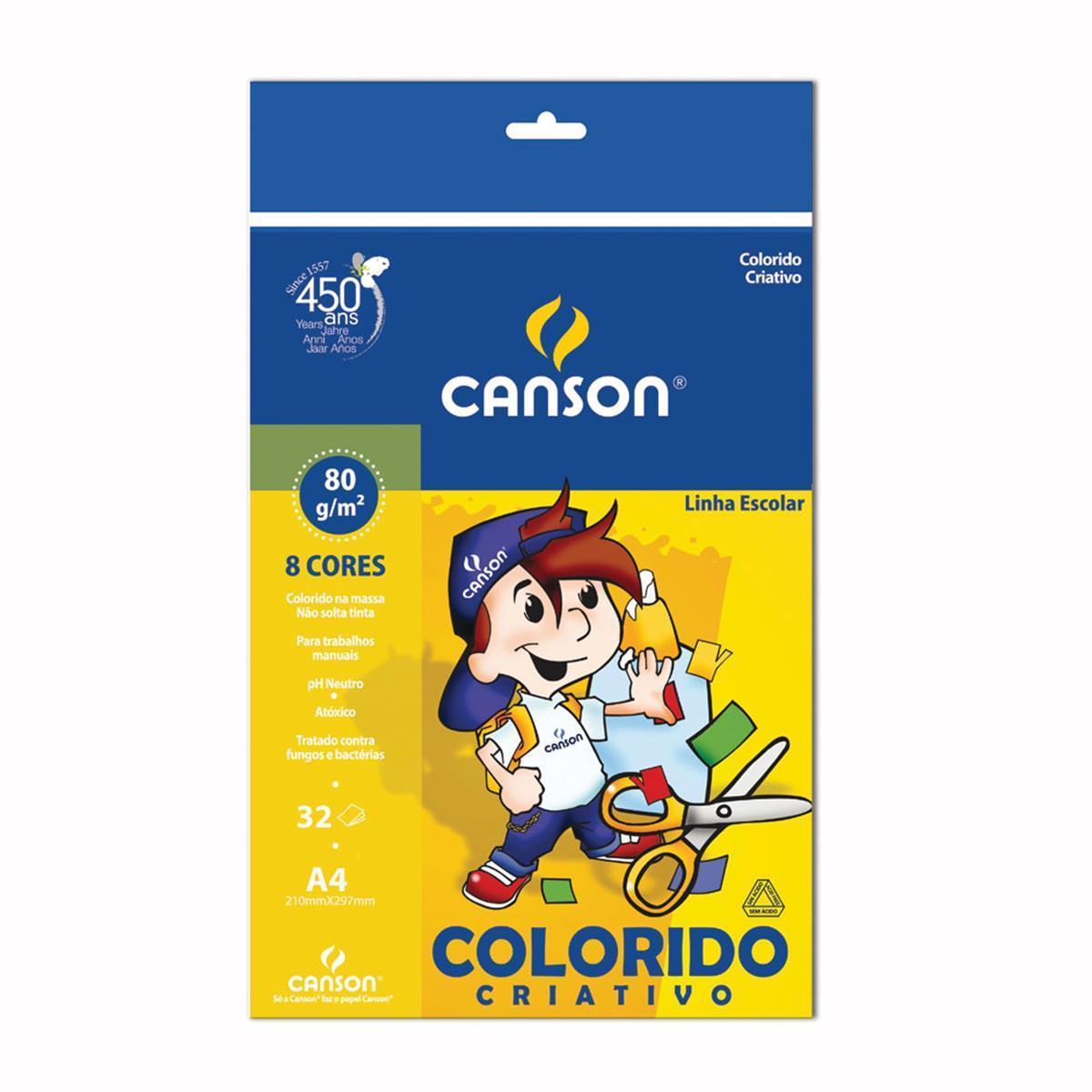 BLOCO COLORIDO CRIATIVO A4 8 CORES 32 FL 1 UN CANSON