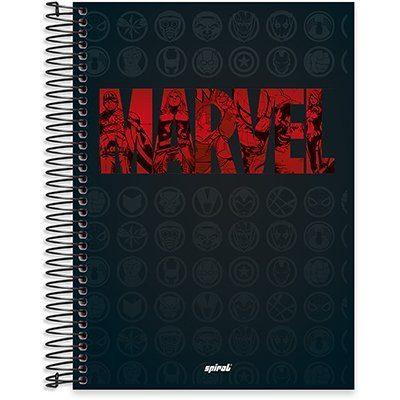 Caderno univ.capa dura 10x1 200fl Marvel Brick 20427 Spiral Mvb PT 1 UN