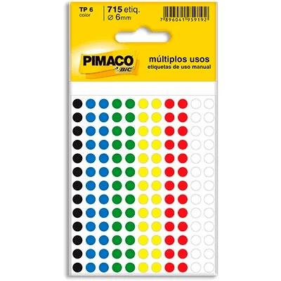 Etiqueta adesiva p/ codificação 6mm coloridas Pimaco PT 715 UN