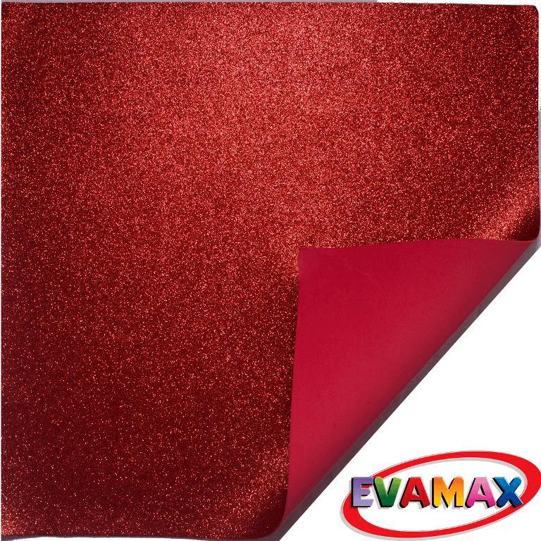 EVA placa com glitter Granel 48 X 40cm - Vermelho