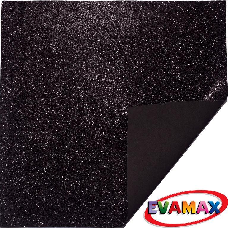 EVA placa com glitter Granel 48 X 40cm - Preto