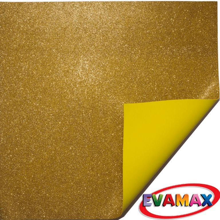 EVA placa com glitter Granel 48 X 40cm - Amarelo