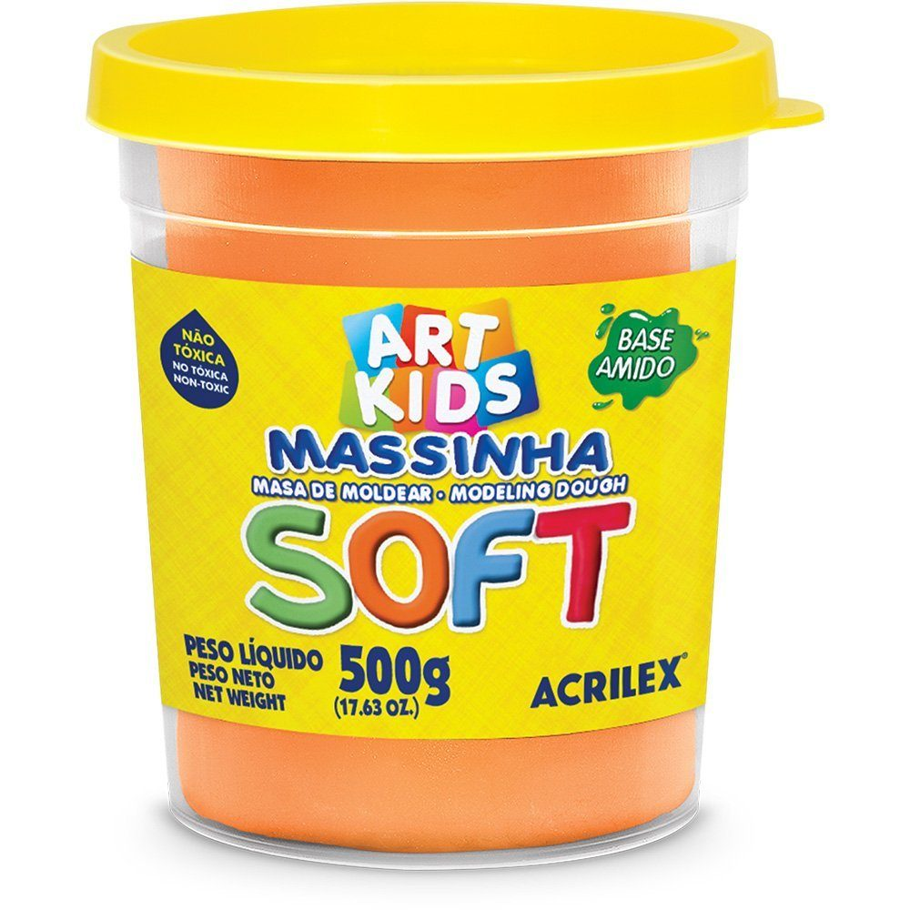 Massa p/modelar 500g soft laranja Acrilex PO 1 UN base de amido