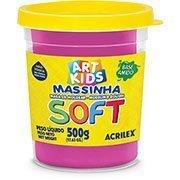 Massa p/modelar 500g soft Rosa Acrilex PO 1 UN base de amido
