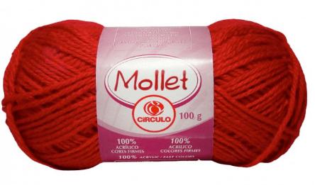 Novelo de Lã vermelho Mollet