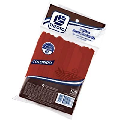 Palito sorvete ponta redonda kv vermelho 51084 Theoto PT 100 UN