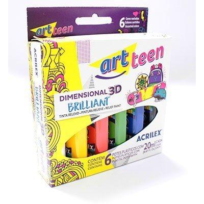Tinta relevo dimensional c/6 cores brilliant 20ml Acrilex - K