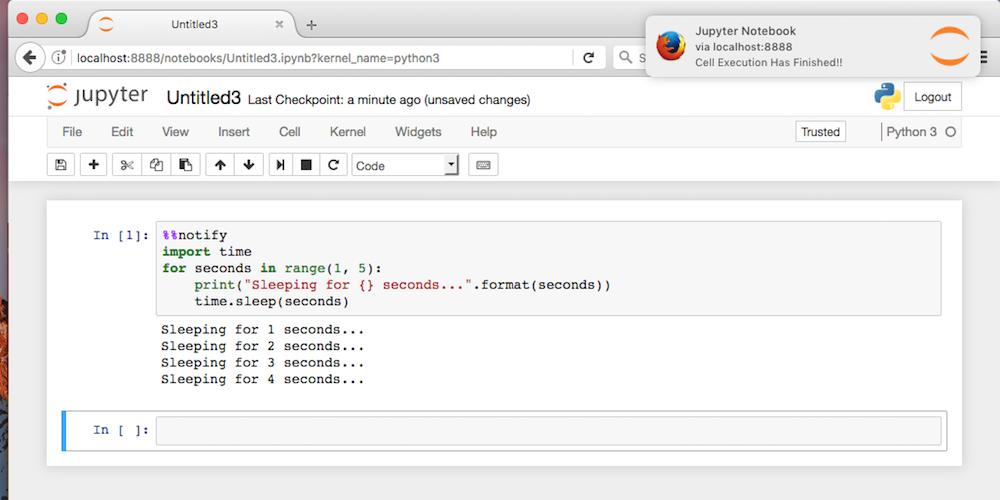 Jupyter notebook notification in Firefox