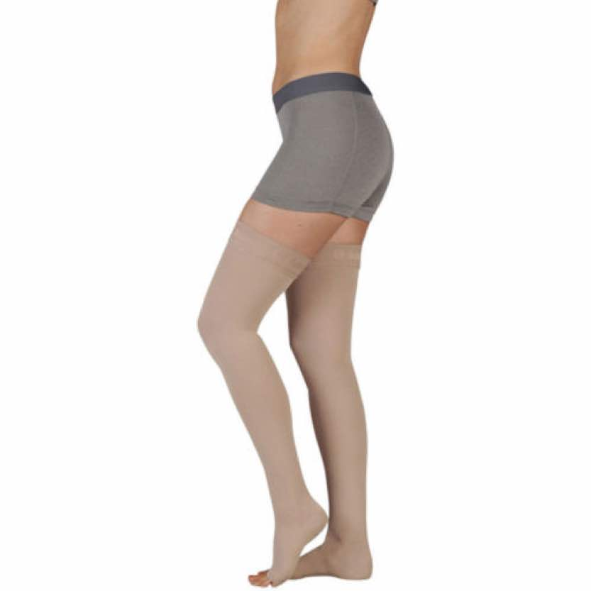 Juzo Soft Thigh Highs With Silicone Border Open Toe