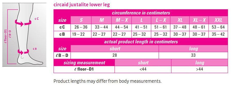 Juxtalite Compression Wrap Size Chart