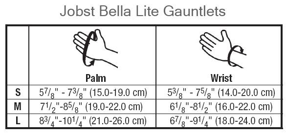 BSN Jobst Bella Lite Size Chart