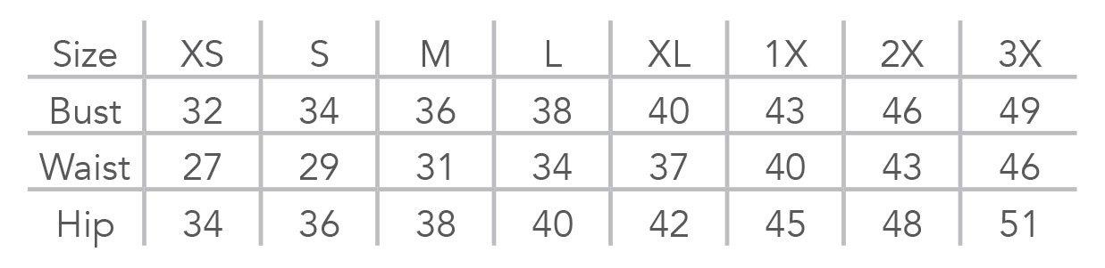 Wearease Shaper Size Chart