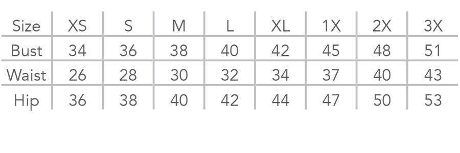 Wear Ease Allyson Size Chart