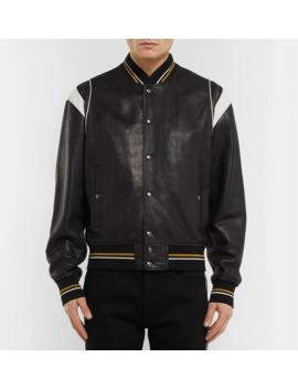 75ab3fff9 Shoptagr   Logo Jacquard Appliquéd Leather Bomber Jacket by Givenchy