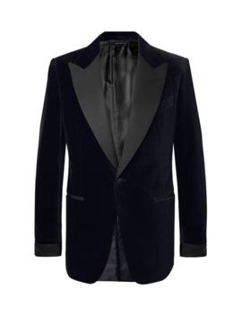black-shelton-slim-fit-faille-trimmed-cotton-velvet-tuxedo-jacket by tom-ford