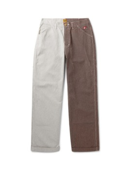 colour-block-striped-cotton-trousers by human-made