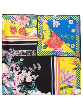 multicoloured-floral-print-silk-scarf by versace
