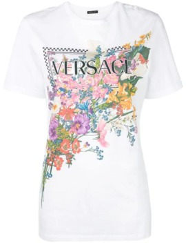 Floral Logo T Shirt by Versace
