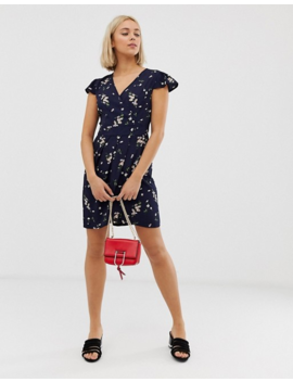 Qed London Wrap Front Tulip Dress In Floral Print by Dress