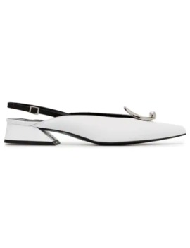 White Medallion 30 Leather Slingback Pumps by Yuul Yie