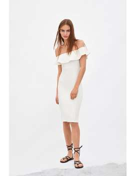 12931275 Shoptagr | Textured Weave Dress With Ruffle Trim View All Dresses ...
