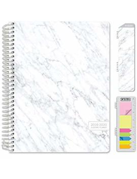 "hardcover-academic-year-2019-planner:-(june-2019-through-july-2020)-85""x11""-daily-weekly-monthly-planner-yearly-agenda-bonus-bookmark,-pocket-folder-and-sticky-note-set-(grey-marble) by global-printed-products"