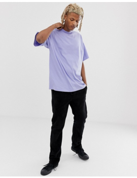 Asos Design Oversized T Shirt With Seam Detail &Amp; Turtleneck In Purple by Asos Design