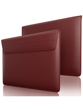 """Kuzy Wine Red Leather Sleeve Case For Mac Book Pro 15"""" With Touch Bar And Retina Display 15.4"""" And Laptop 15 Inch Cover   Wine Red by Kuzy"""