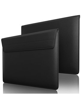 """Kuzy Black Leather Sleeve Case For Mac Book Pro 15"""" With Touch Bar And Retina Display 15.4"""" And Laptop 15 Inch Cover   Black by Kuzy"""