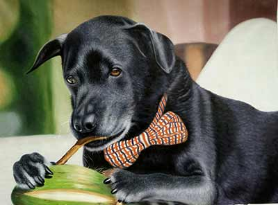 Amazing oil painting of a dog with a bow tie