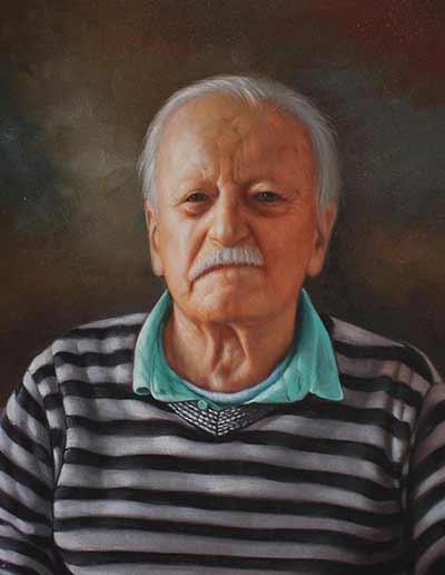 Amazing oil portrait painting elderly man