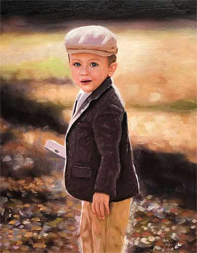 an oil painting of a child with a vintage hat in the yellow field