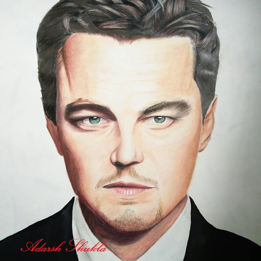 Leonardo Dicaprio Colored Portrait Sketch-drawing