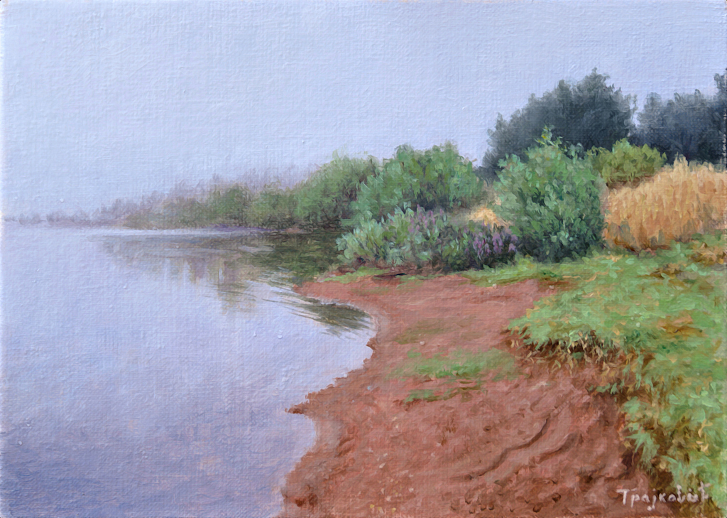 Foggy Morning On The Lake-paintings
