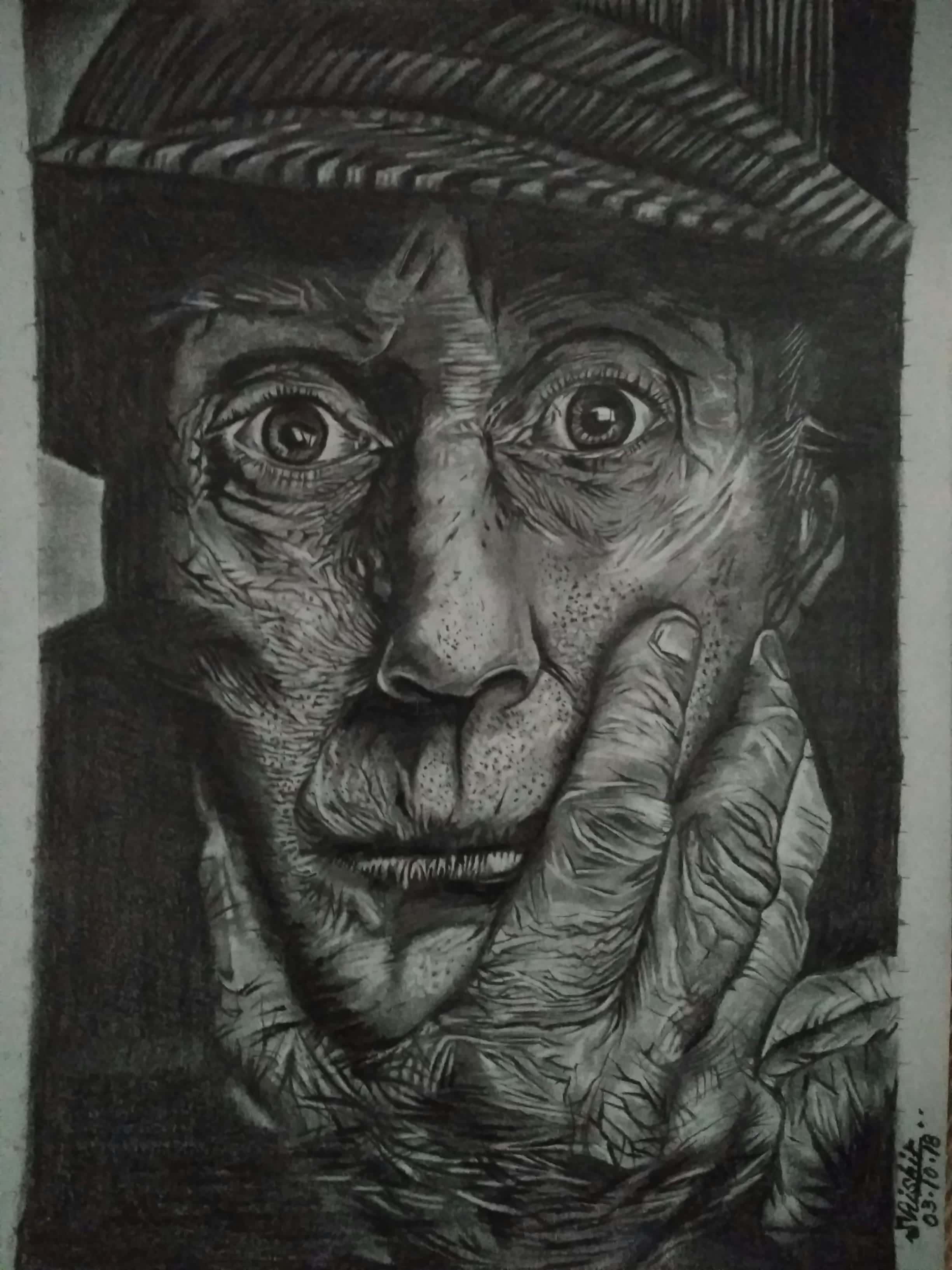Uncle Sam In A Staring Contest-drawing