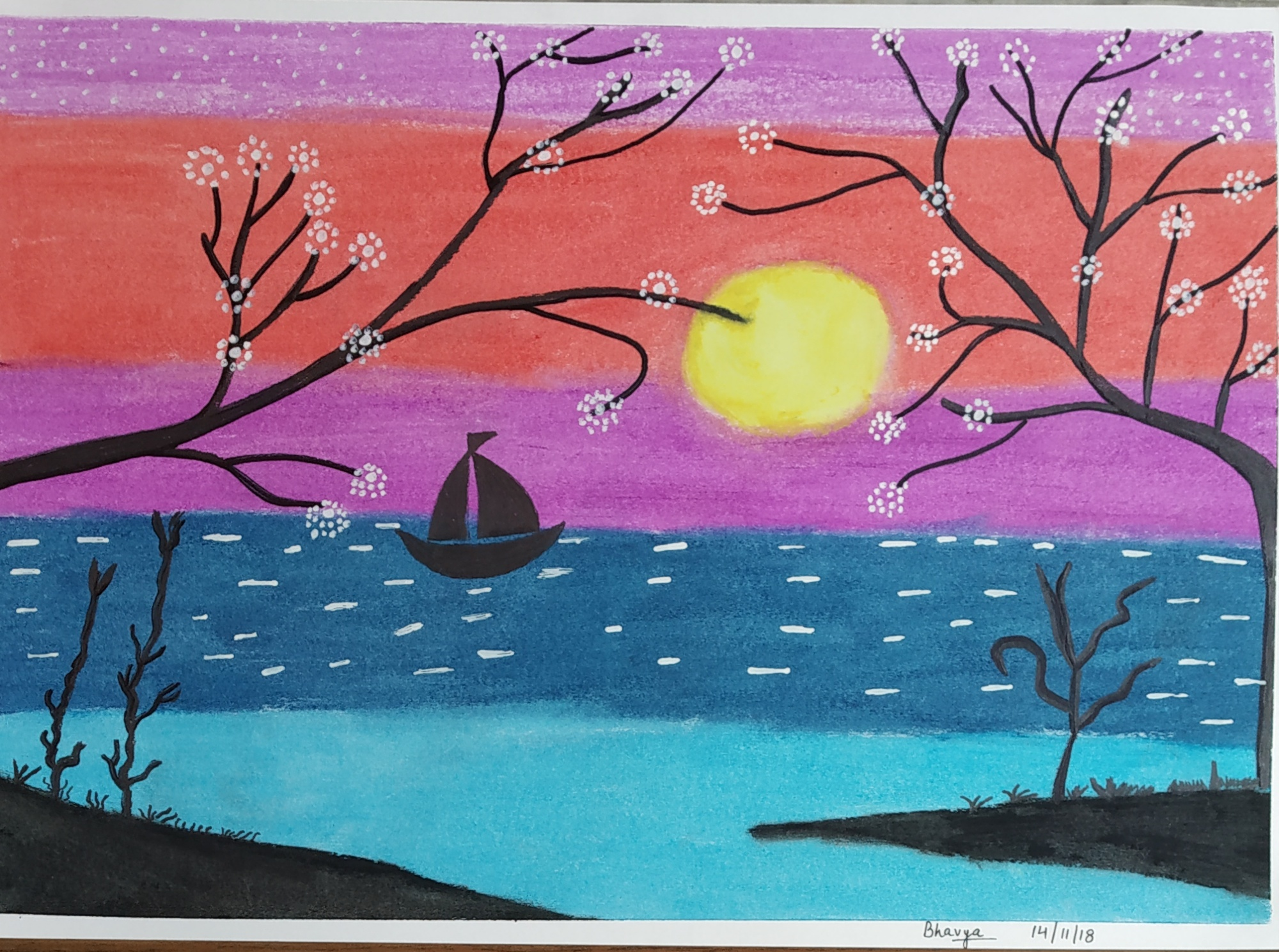 Beautiful Sunset With Trees-paintings