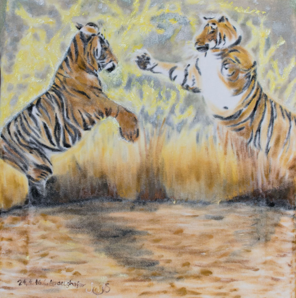 Two Tigers Fighting-paintings