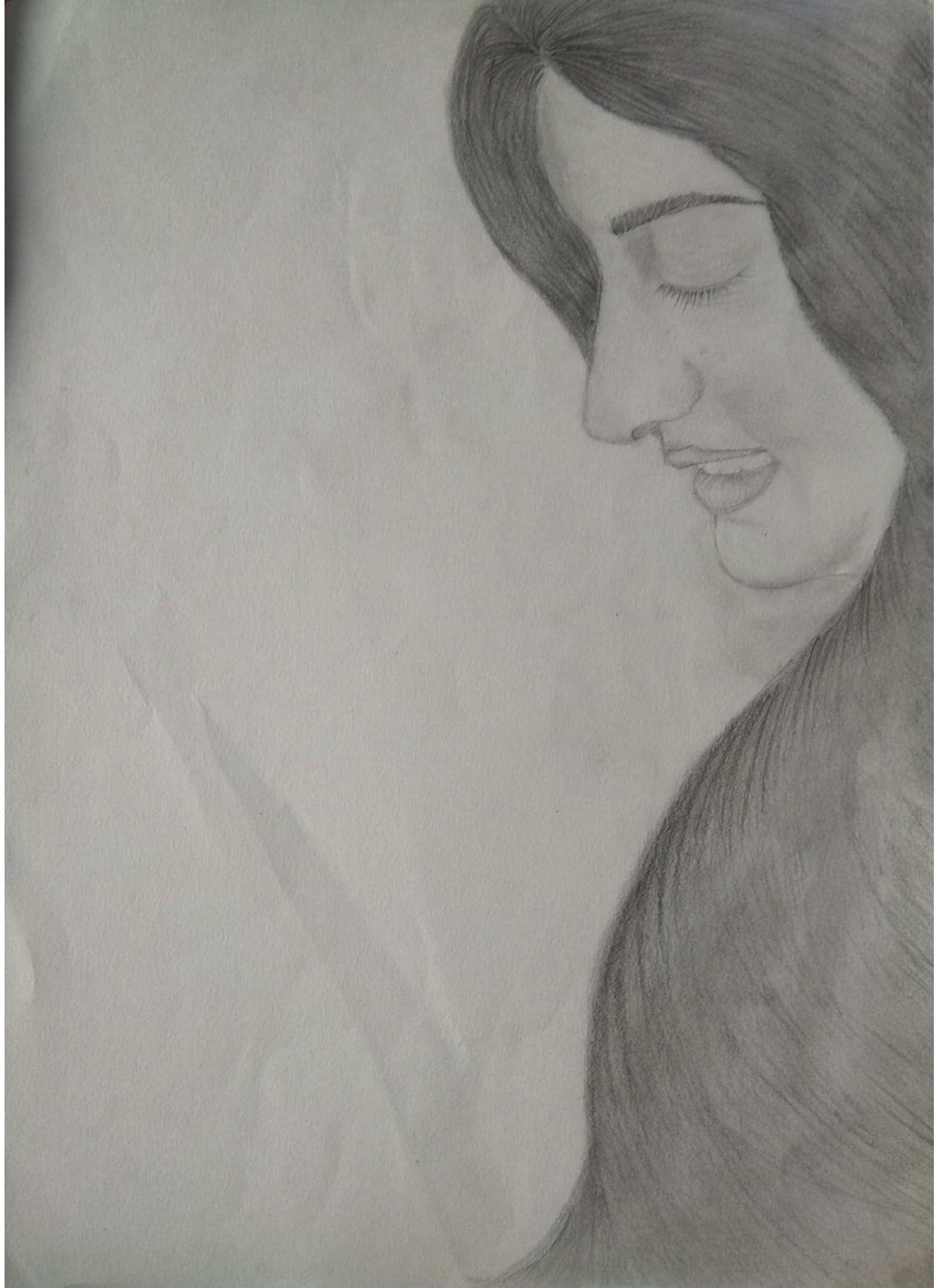 Beautiful Girl Graphite Sketch-drawing
