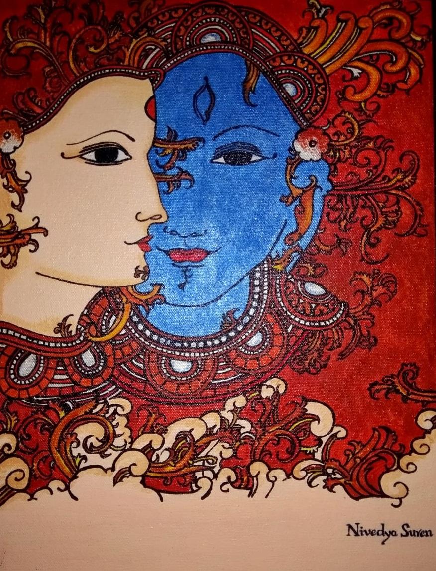 Shiva Parvati Painting Original Mural