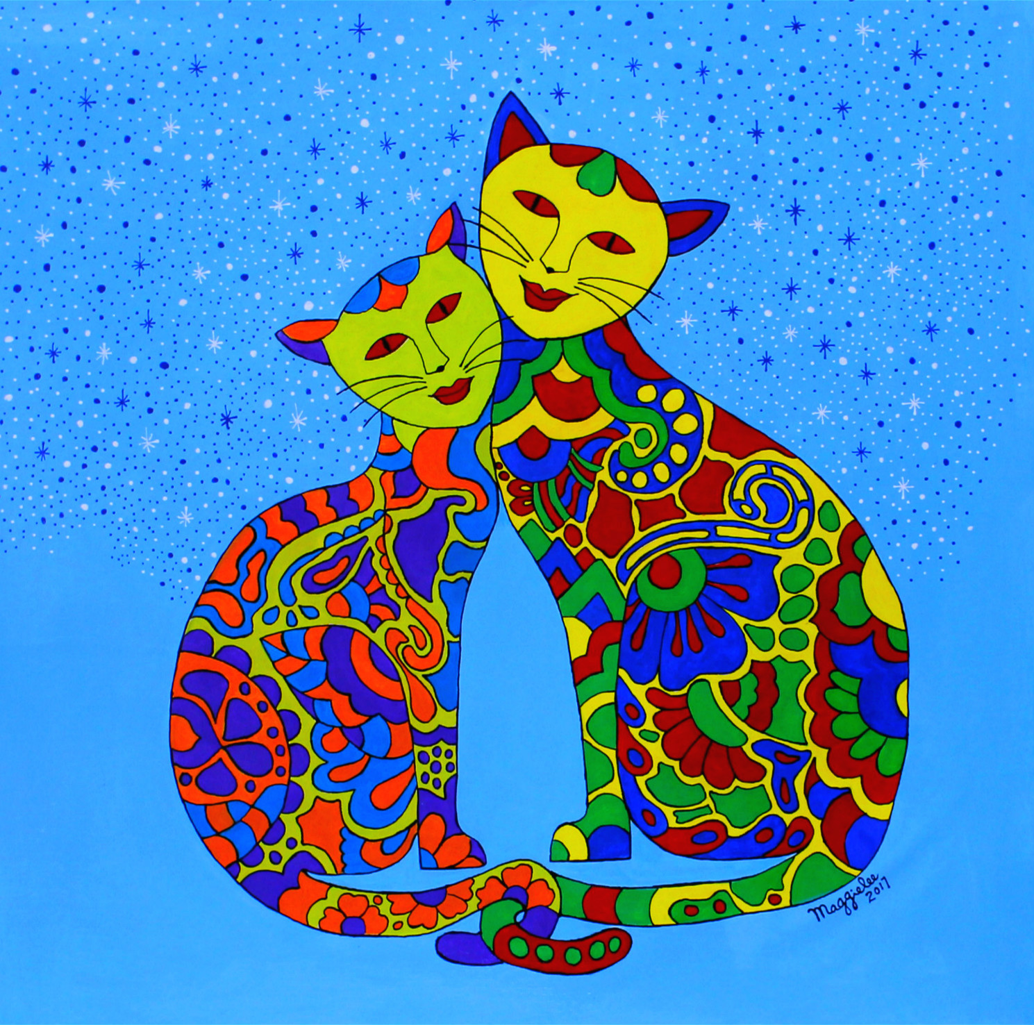 Batik Cats-paintings