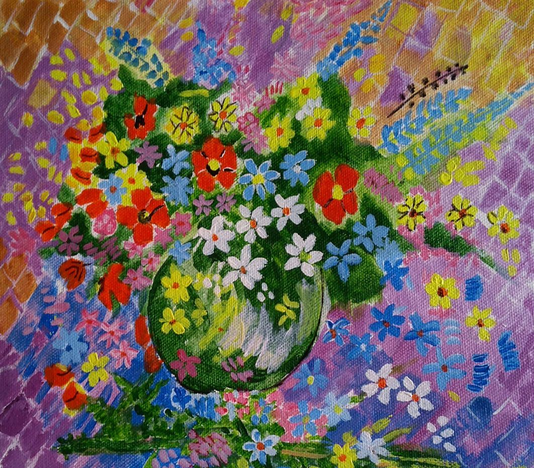 THE BUCKET OF FLOWERS-paintings