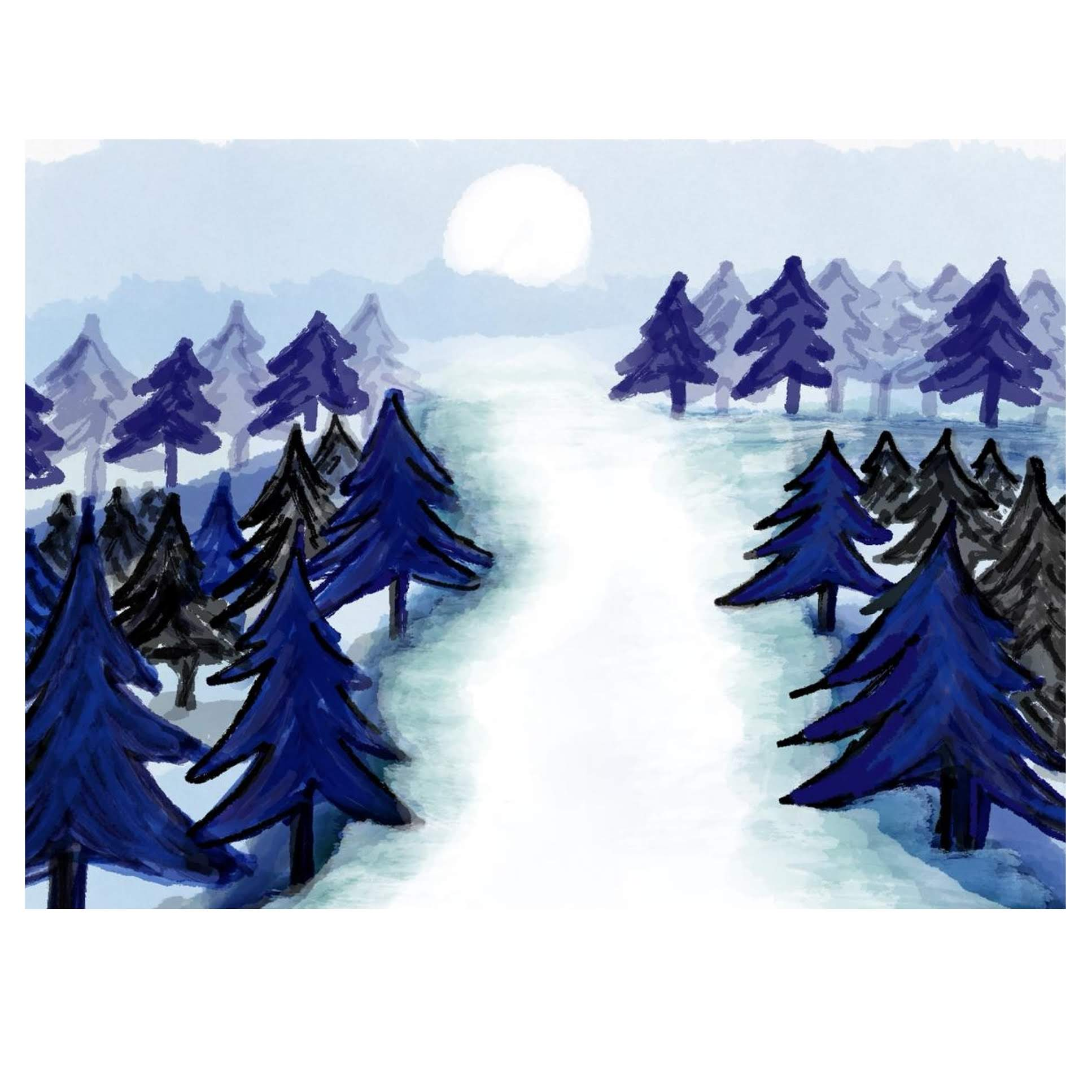 Enchanting Winter Forest-illustration by KANKSHA DIGHE