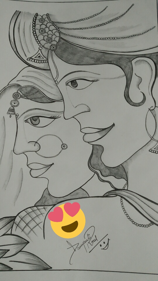 Radha Krishna Photo -drawing by Damyanti Roul