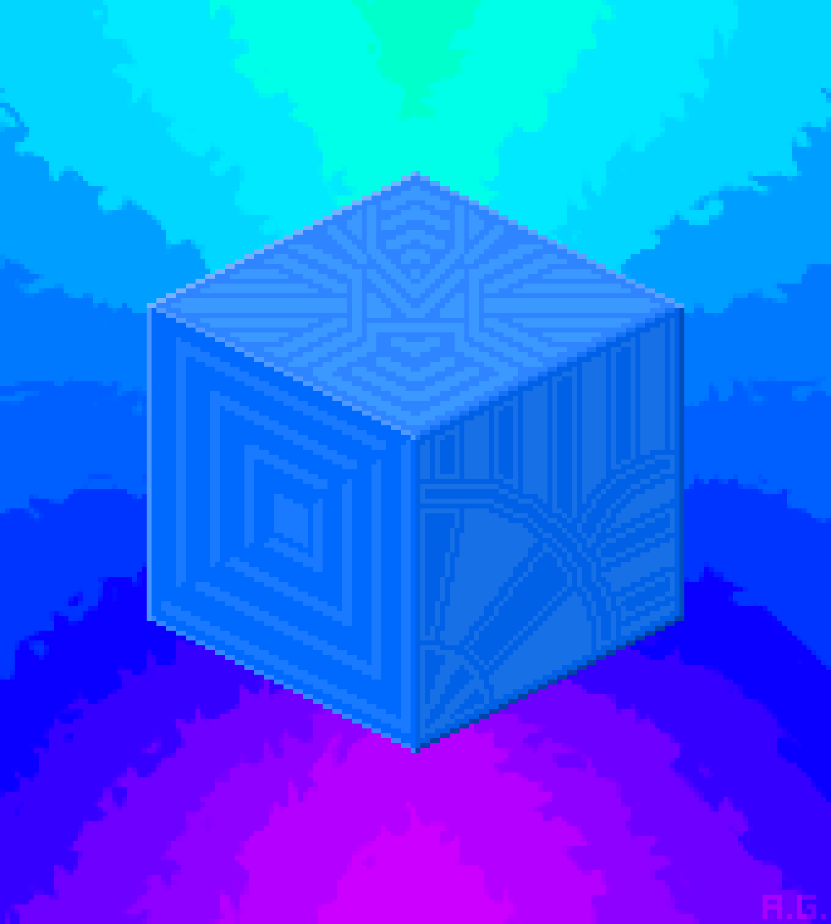 The Blue Cube Of Energy-illustration