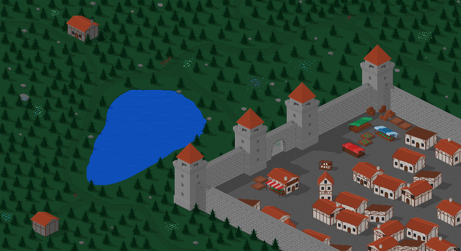 The Spring Pixel Art Medieval Town-illustration