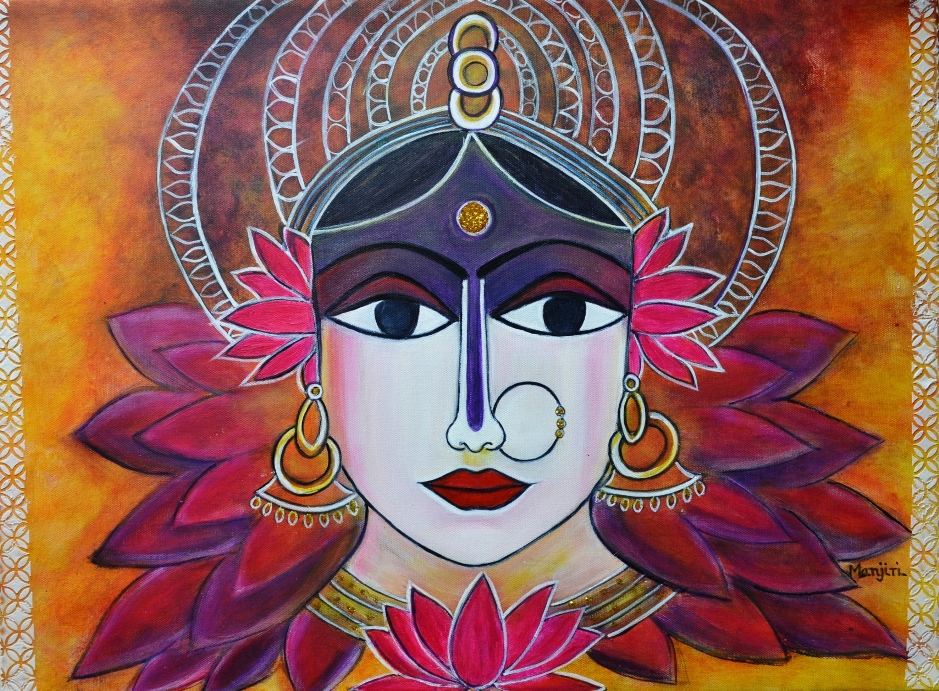 Goddess Lakshmi Painting On Canvas-paintings