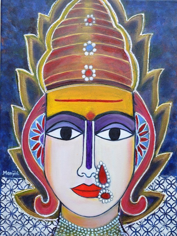 Goddess Shantadurga Textured Painting On Canvas-paintings