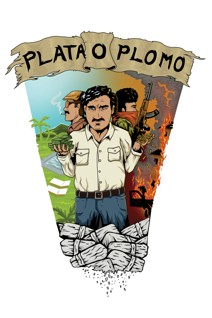Plata O Plomo-illustration Digital Poster